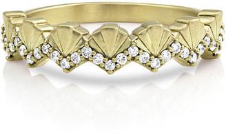 Dominique Cohen 14k Gold Diamond Deco Fan Ring, Size 7