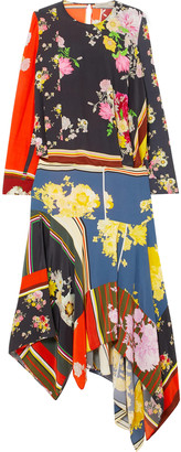 Preen Line Kara Asymmetric Printed Crepe De Chine Midi Dress