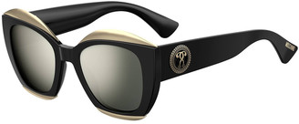 Moschino Mirrored Square Acetate Sunglasses