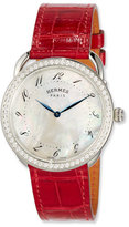 Hermes Arceau Set with Diamonds & Interchangeable Smooth Ember on an Alligator Strap