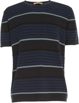 Nuur Striped Sweater S/s Crew Neck Cotton Crepe