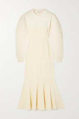 Alexander McQueen - Pleated Paneled Wool-blend Midi Dress - Ivory