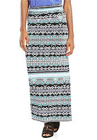 I.N. Studio Boho Stripe Print Knit Pull-On Maxi Skirt