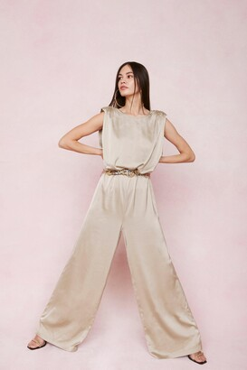 Nasty Gal Womens Final Credits Satin Wide-Leg Jumpsuit - Beige - 4