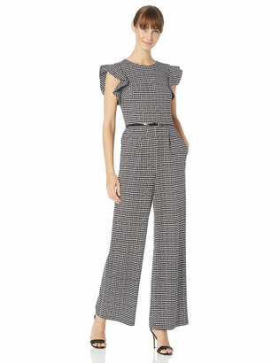 Calvin Klein Women's Sleeveless Belted Jumpsuit with Ruffle Armhole
