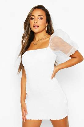 boohoo Petite Organza Sleeve Mini Dress