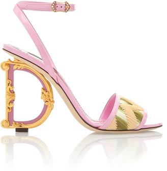 Dolce & Gabbana Embellished Heel Leather and Raffia Sandals