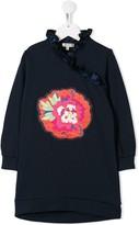 Kenzo TEEN ruffled flower-patch dress