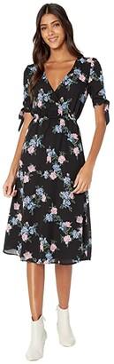 BB Dakota Falling For Me Printed CDC Midi Dress with Sleeve Ties (Black) Women's Dress