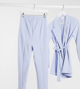 ASOS DESIGN Maternity jersey over bump slim suit pants in pale blue