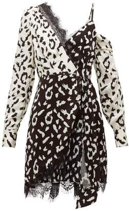 Self-Portrait Self Portrait Leopard Print Asymmetric Satin Mini Dress - Womens - Black White