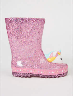 George First Walkers Pink Glitter Light Up Unicorn Wellington Boots
