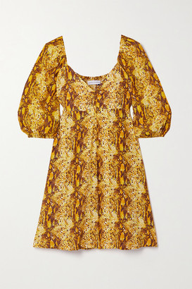 Faithfull The Brand + Net Sustain Martine Snake-print Crepe Mini Dress - Yellow