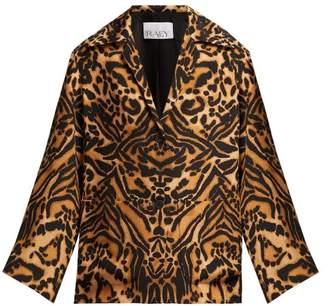 Raey Tiger Print Silk Cady Pyjama Jacket - Womens - Brown Multi