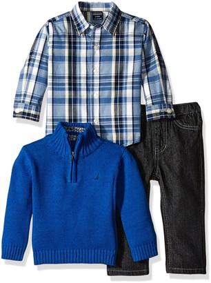 Nautica Baby Three Piece Set with Woven Quarter Zip Sweater Denim Jean