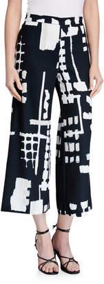 Natori Classic Block-Print Wide-Leg Crop Pants