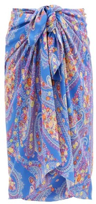 Etro Paisley-print Crepe Sarong - Blue Multi