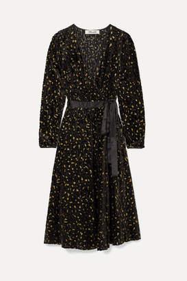 Diane von Furstenberg Satin-trimmed Metallic Flocked Chiffon Wrap Dress - Black