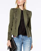 INC International Concepts I.N.C. Puffed-Shoulder Lace-Contrast Jacket, Created for Macy's