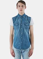 Saint Laurent Men's Sleeveless Denim Vest In Blue