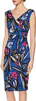 Gina Bacconi Abstract Floral Print Jersey Dress, Cobalt