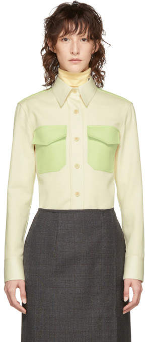 Calvin Klein Off-White and Green Western Shirt