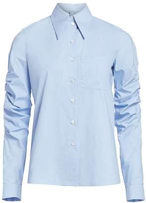 Michael Kors Ruched-Sleeve Poplin Button-Down Shirt