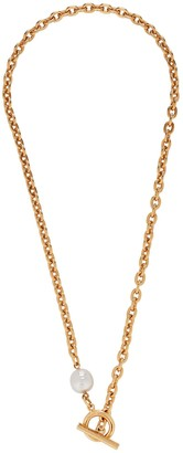 Ben-Amun Pearl Lariat Chain-Link Necklace