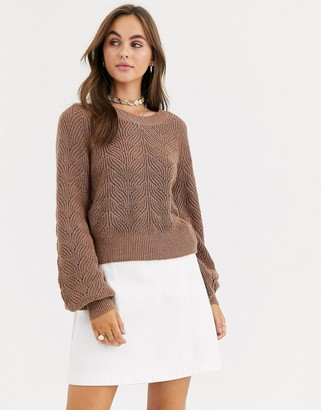 Abercrombie & Fitch balloon sleeve crew neck knit jumper-Brown