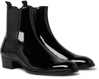 Saint Laurent Wyatt Patent-Leather Chelsea Boots