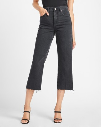 Express High Waisted Black Raw Hem Cropped Wide Leg Jeans