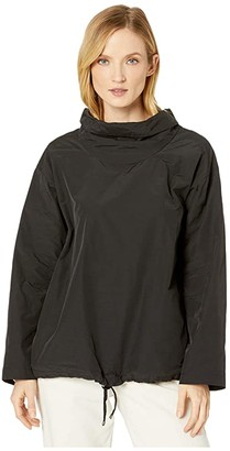 Eileen Fisher Light Organic Cotton Nylon Drape Neck Pullover (Black) Women's Clothing