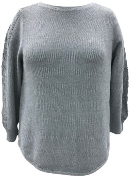 Karen Scott Plus Size Cable-Sleeve Sweater, Created for Macy's