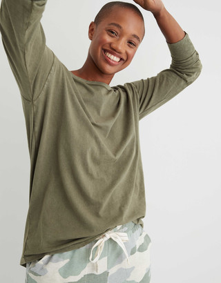 aerie Long Sleeve Oversized Crewneck T-Shirt