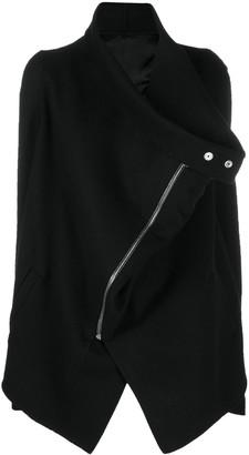 Rick Owens asymmetric zipped coat