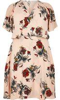 River Island Womens Plus pink floral print frill midi dress