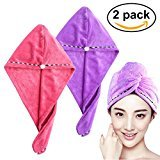 Frcolor Hair Drying Towel,2PCS Hair Turban Towel Twist Wrap ,Fast Drying Absorbent Microfiber Dry Hair Cap (Pink Purple)