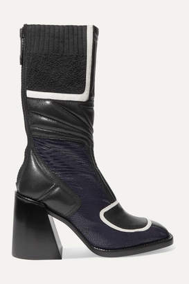 Chloé Belle Paneled Quilted Glossed-leather Ankle Boots - Navy