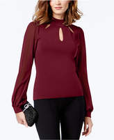 INC International Concepts I.n.c. Mock-Neck Cutout Sheer-Sleeve Sweater, Created for Macy's