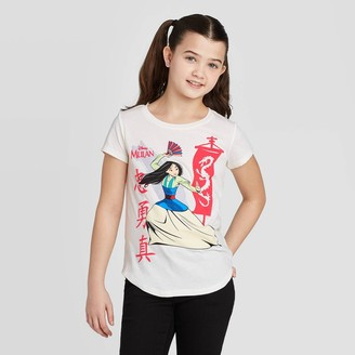 Princess Girls Disney Princess Girls' Short Sleeve Mulan T-Shirt - Ivory
