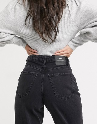 Stradivarius slouchy jeans in black