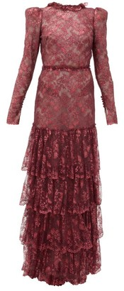 The Vampire's Wife The Early Metallic-lace Dress - Burgundy