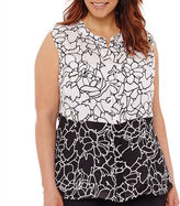 Liz Claiborne Sleeveless Twin-Print Popover Top with Cami - Plus