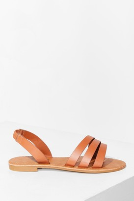 Nasty Gal Womens Don't Worry Be Strappy Wide Fit Flat Sandals - Tan
