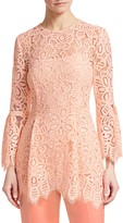 Lela Rose Bell Sleeve Corded Lace Blouse
