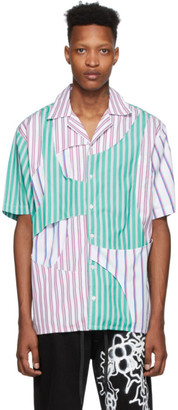 Liam Hodges Blue and White Interwoven Bowling Short Sleeve Shirt