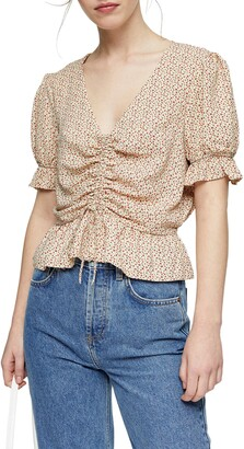 Topshop Margot Ditsy Print Ruched Top