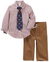 Little Me Orange Check Woven Pant Set (Baby Boys)
