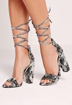 Missguided Crushed Velvet Wrap Around Block Heel Grey
