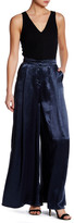 ABS by Allen Schwartz Crinkle Satin Side Slit Palazzo Pant